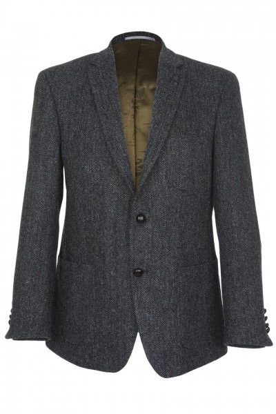 Baldasare Harris Tweed Jacket in charcoal & blue herringbone