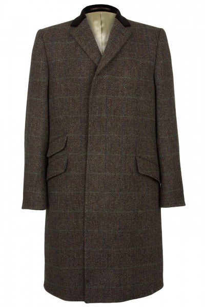 Prestbury Harris Tweed Coat in Brown Herringbone with Lime Green and Blue Overcheck