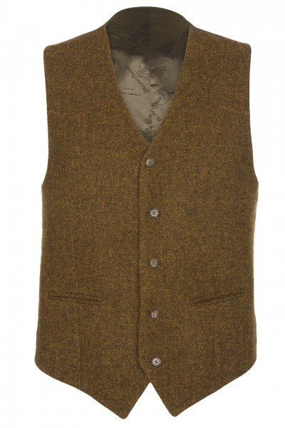 Marco Harris Tweed Waistcoat in cinnamon mix