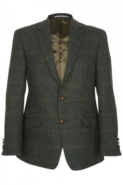 Cirino Harris Tweed Jacket in green & brown herringbone with blue & tan overcheck