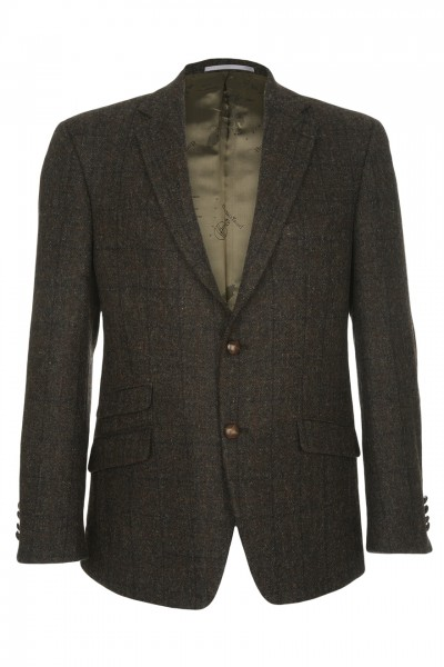Cirino Harris Tweed Jacket in dark brown mix with brick-red & charcoal overcheck