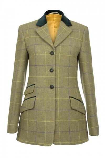 Eloise Harris Tweed Hacking Jacket in taupe with blue & gold overcheck