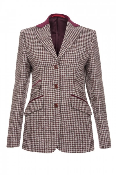 Olivia Harris Tweed Jacket in light grey and mulberry houndstooth