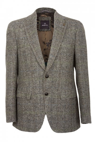 Barutti Focus Harris Tweed Jacket in grey herringbone