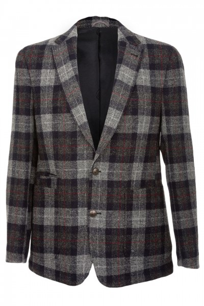 Barutti Refine Harris Tweed Jacket in Charcoal Grey and Claret