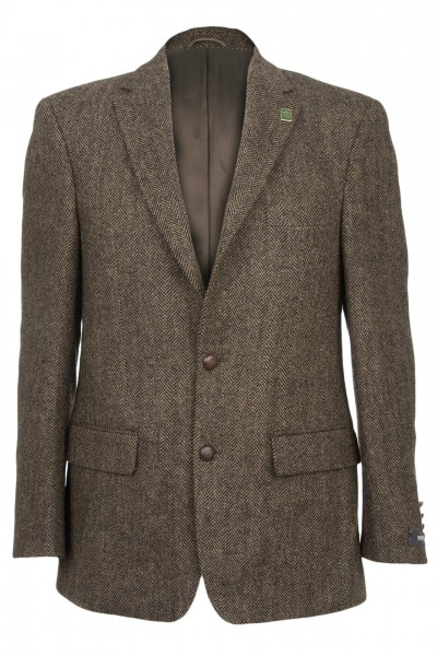 Connoisseur Harris Tweed Jacket in dark brown herringbone