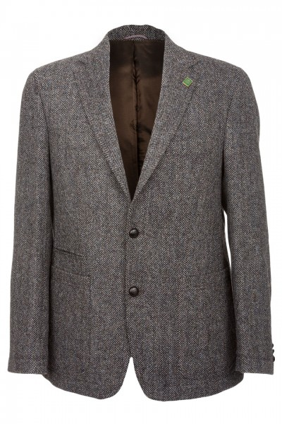 Barutti Refine Harris Tweed Jacket in charcoal herringbone