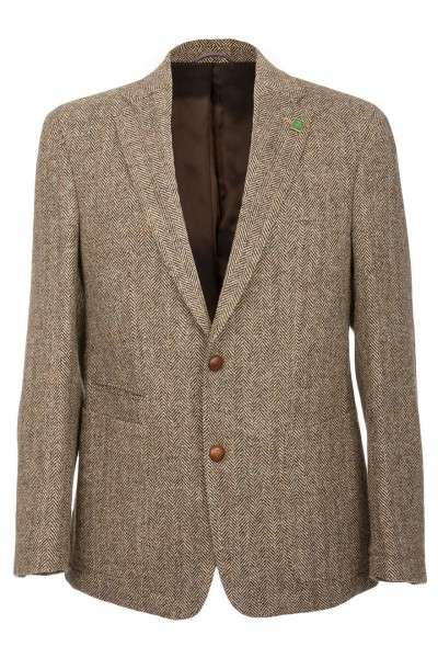 Barutti Refine Harris Tweed Jacket in Brown Herringbone