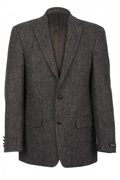 Connoisseur Harris Tweed Jacket in charcoal herringbone