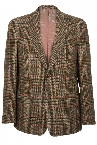 Barutti Focus Harris Tweed Jacket in Brown Red & Green Over Check