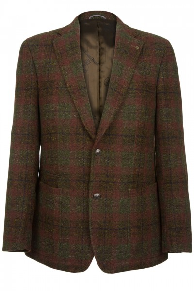 Barutti Refine Harris Tweed Jacket in red & green check
