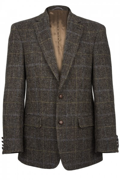 Connoisseur Harris Tweed Jacket in pinpoint blue with tan overcheck