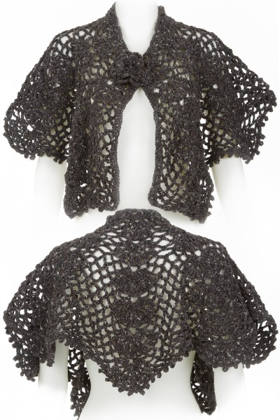 Crocheted Shawl in charcoal