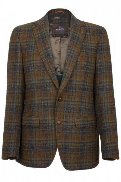 Barutti Focus Harris Tweed Jacket in Charcoal Grey & Brown Tartan
