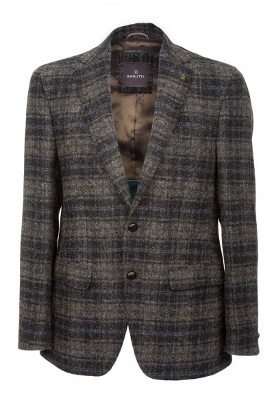 Barutti Focus Harris Tweed Jacket in blue charcoal & grey check