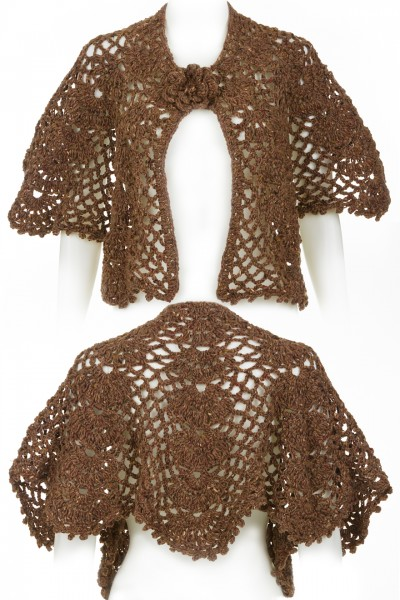 Crocheted Shawl in golden brown