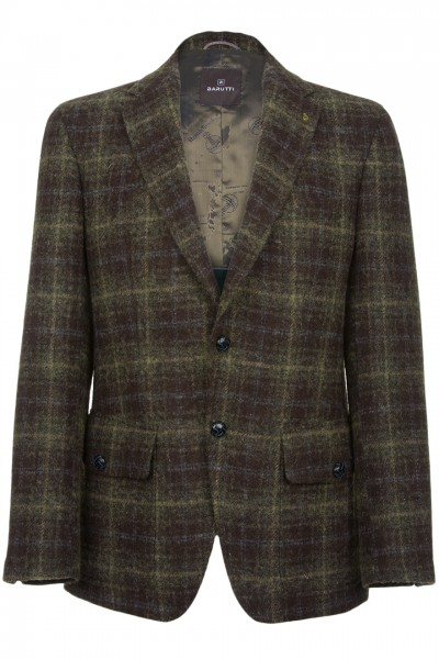 Barutti Hamilton Harris Tweed Jacket in charcoal green & blue tartan