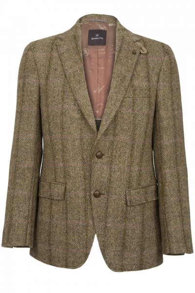 Barutti Focus Harris Tweed Jacket in light brown herringbone