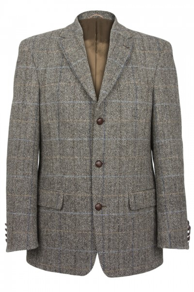 Glenholm Harris Tweed Jacket in grey brown herringbone with overcheck