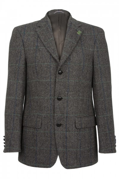 Glenholm Harris Tweed Jacket in charcoal herringbone with overcheck