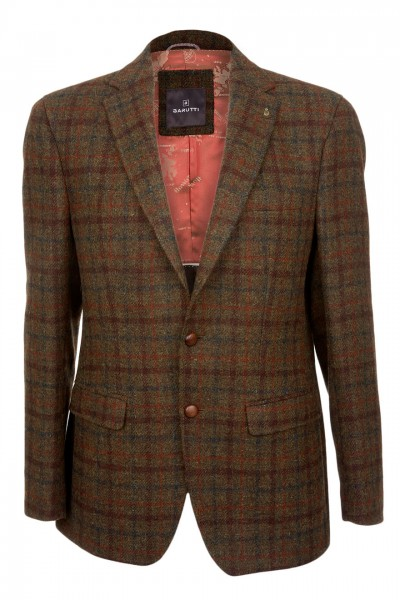 Barutti Focus Harris Tweed Jacket in green brown & terracotta check