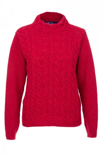 Ladies Horseshoe Chunky Cable Sweater in cherry red