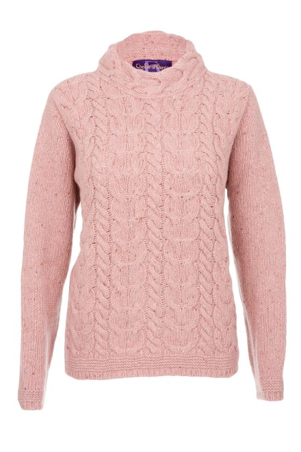 af9f8ba9e9b2 Ladies Horseshoe Chunky Cable Sweater at The Harris Tweed Company ...