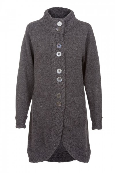 Ladies Long Cardigan in charcoal