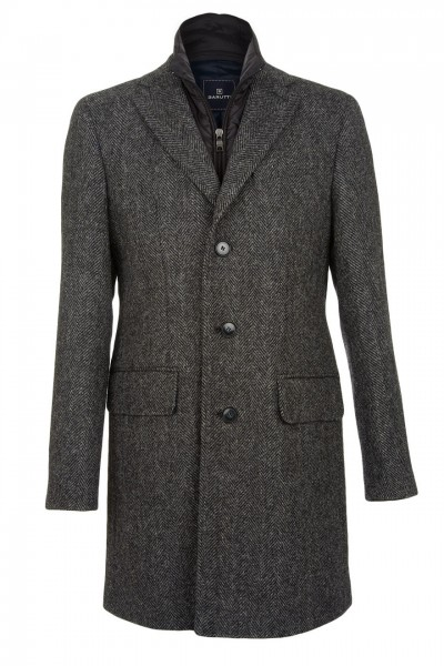 Jenson Harris Tweed Topcoat in charcoal herringbone