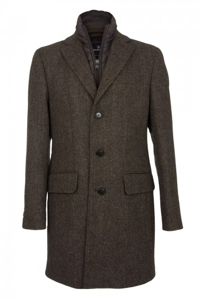 Jenson Harris Tweed Topcoat in brown Herringbone