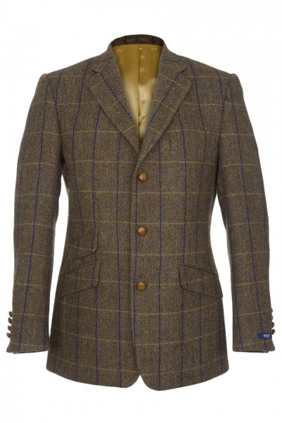 Kennedy Harris Tweed Jacket in Brown Herringbone with Royal Blue & Tan Overcheck
