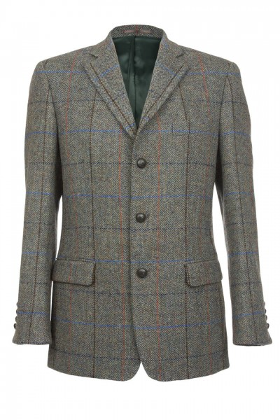 Langdon Harris Tweed Jacket in Green Herringbone with Terracotta and Cobalt Blue Overcheck