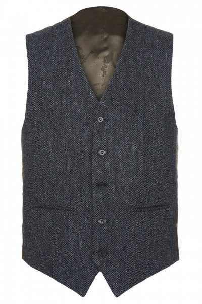 Marco Harris Tweed Waistcoat in Blue & Charcoal Herringbone