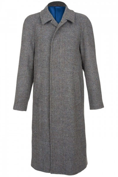 Marlborough Harris Tweed Overcoat in green with blue & heather tones