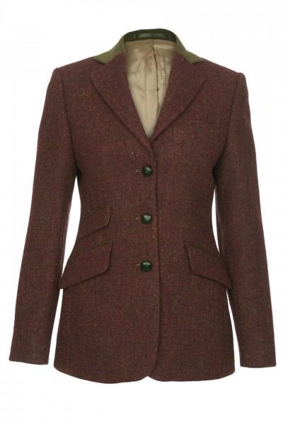Olivia Harris Tweed Jacket in red rust