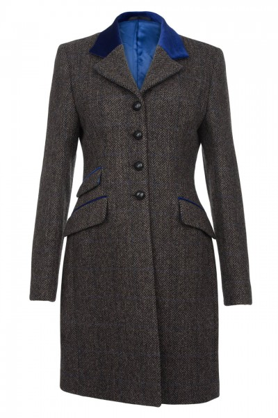 Portia Harris Tweed Coat in grey herringbone