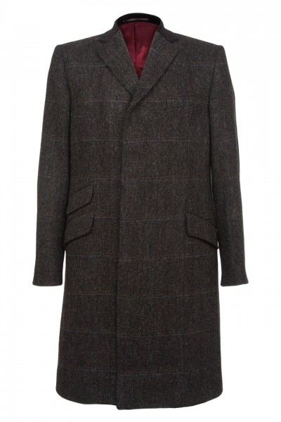 Prestbury Harris Tweed Coat in Charcoal Herringbone with Wine and Blue Overcheck