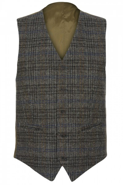 Tempo Harris Tweed Waistcoat in blue, charcoal & tan glencheck