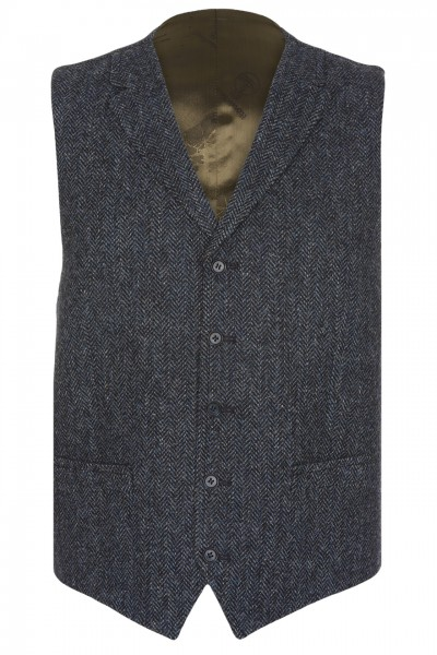 Ultimo Harris Tweed Waistcoat in Blue & Charcoal Herringbone