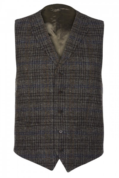 Ultimo Harris Tweed Waistcoat in Tan Blue  & Charcoal Glencheck